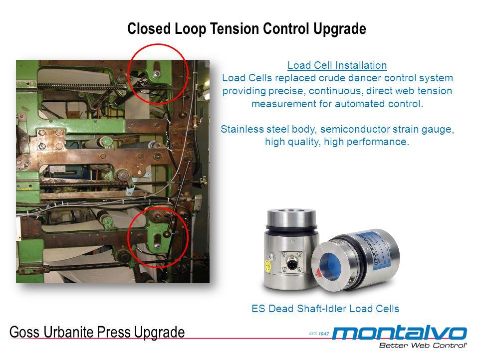 Goss Urbanite Press Upgrade Closed Loop Tension Control Upgrade Load Cell Installation Load Cells replaced crude dancer control system providing preci