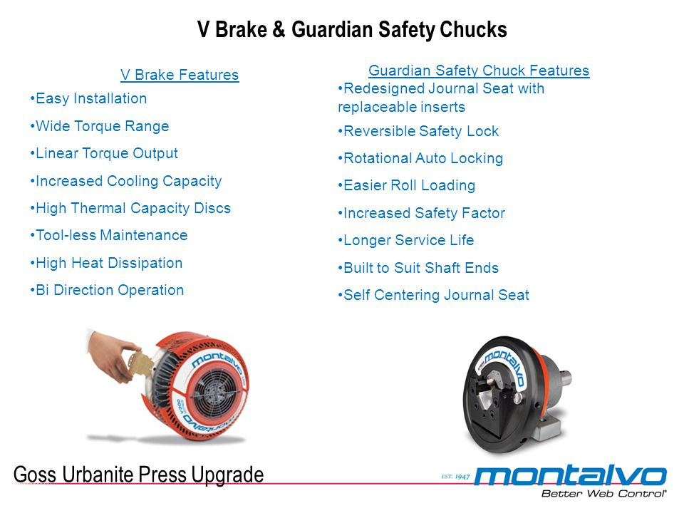 Goss Urbanite Press Upgrade V Brake & Guardian Safety Chucks V Brake Features Easy Installation Wide Torque Range Linear Torque Output Increased Cooli