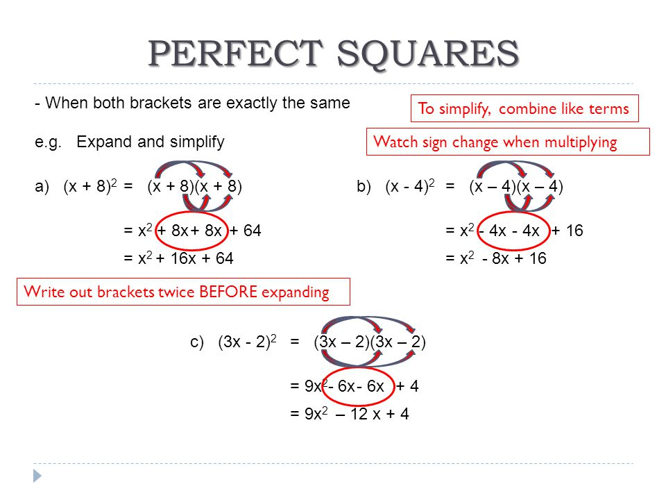 PERFECT SQUARES - When both brackets are exactly the same e.g. Expand and simplify a) (x + 8) 2 = x 2 + 8x + 64 To simplify, combine like terms = x 2