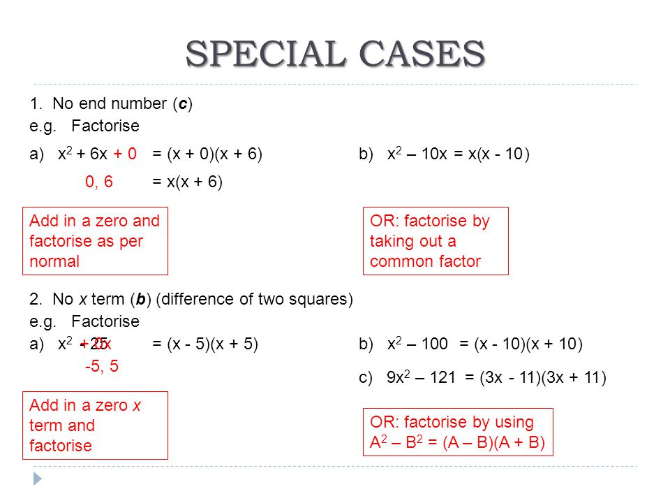 SPECIAL CASES 1. No end number (c) e.g. Factorise a) x 2 + 6xb) x 2 – 10x Add in a zero and factorise as per normal + 0 0, 6 = (x + 0)(x + 6) = x(x +