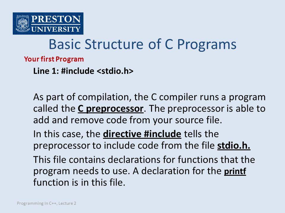Programming In C++, Lecture 2 Operators Decision Making Equality operators == != Relational operators < > <= >=
