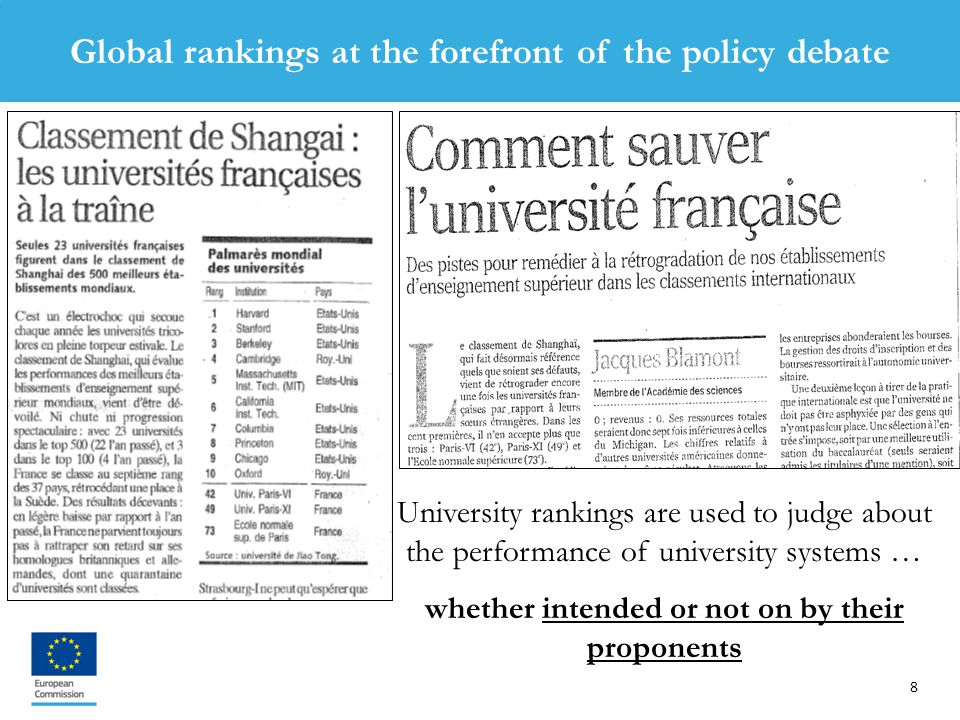 8 University rankings are used to judge about the performance of university systems … whether intended or not on by their proponents Global rankings at the forefront of the policy debate