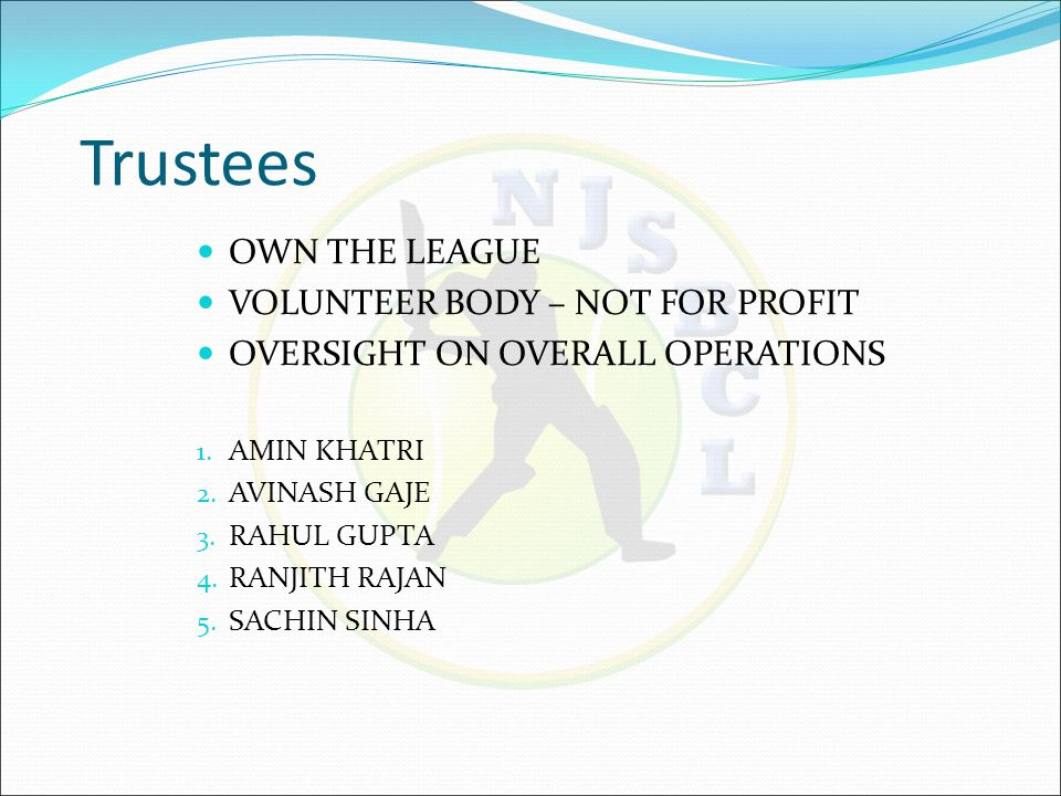 NJSBCL Executive Committee 2015 NOMINEES PROPOSED BY TEAMS EVERY YEAR SELECTED THROUGH A POLLING PROCESS BY TEAM CAPTAINS IF NOMINATIONS EXCEED 15% OF TEAMS RESPONSIBLE FOR DAY-TO-DAY OPERATIONS