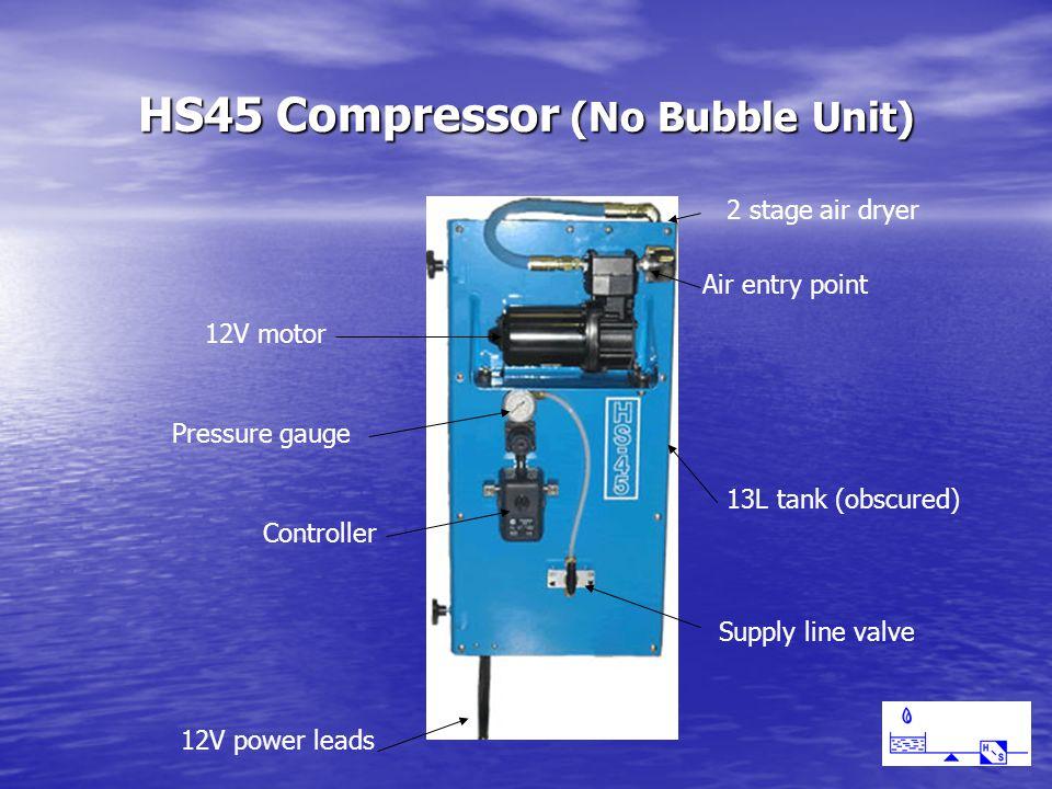 HS45 Compressor (No Bubble Unit) Air entry point 12V motor 2 stage air dryer 13L tank (obscured) Controller Pressure gauge Supply line valve 12V power leads