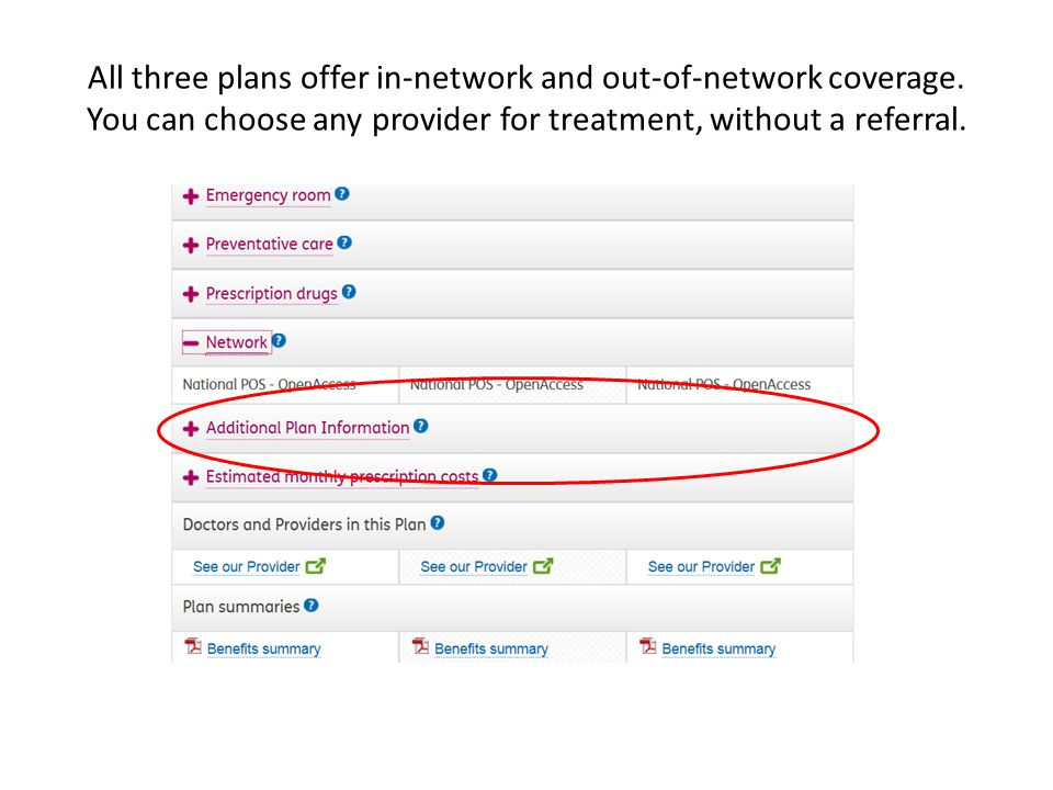 All three plans offer in-network and out-of-network coverage.