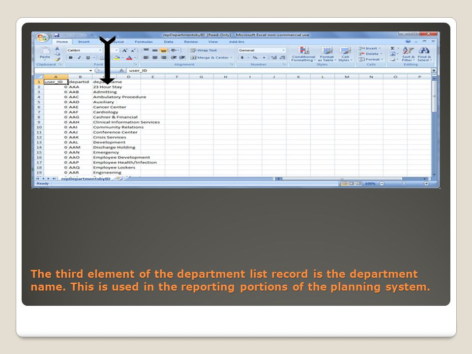 The third element of the department list record is the department name.