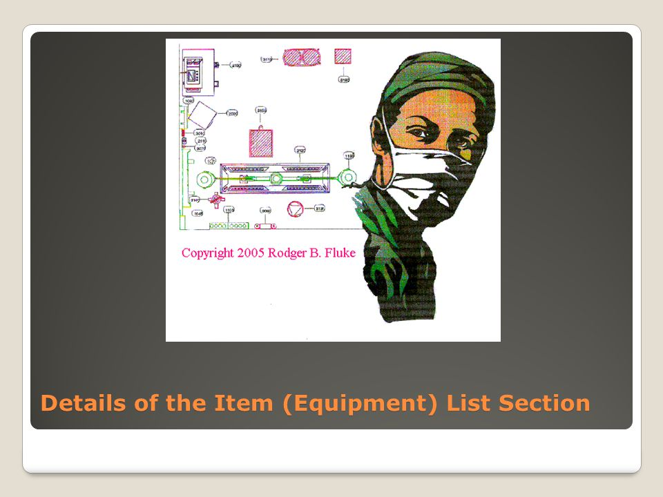 Details of the Item (Equipment) List Section