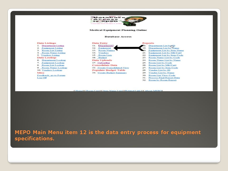 MEPO Main Menu item 12 is the data entry process for equipment specifications.