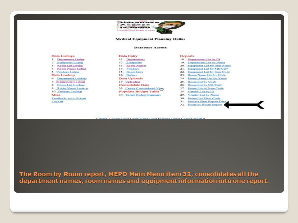 The Room by Room report, MEPO Main Menu item 32, consolidates all the department names, room names and equipment information into one report.