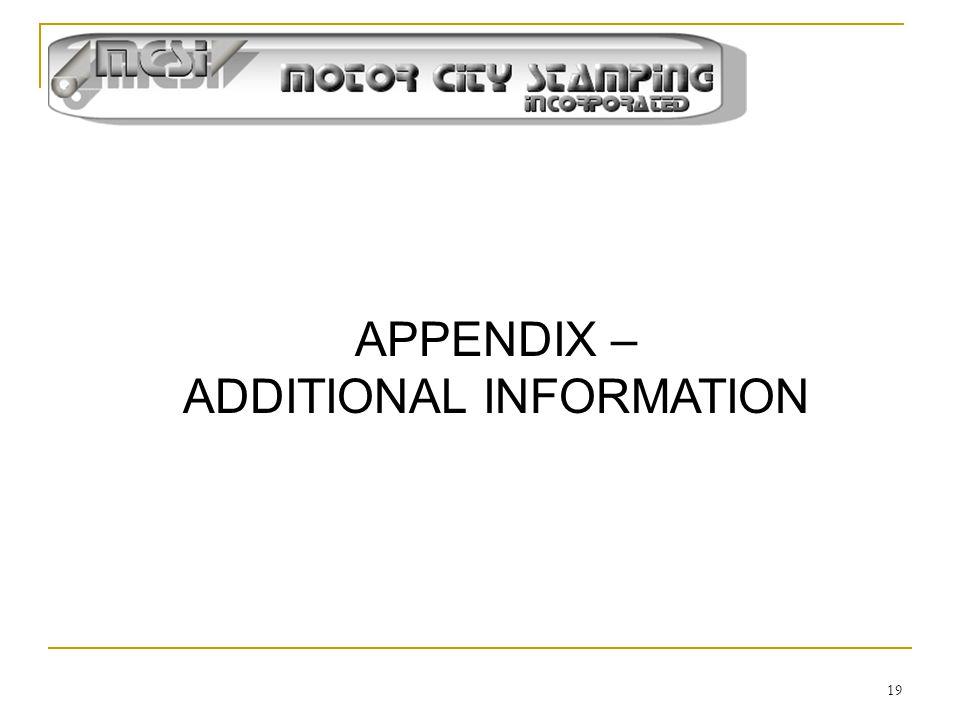 19 APPENDIX – ADDITIONAL INFORMATION