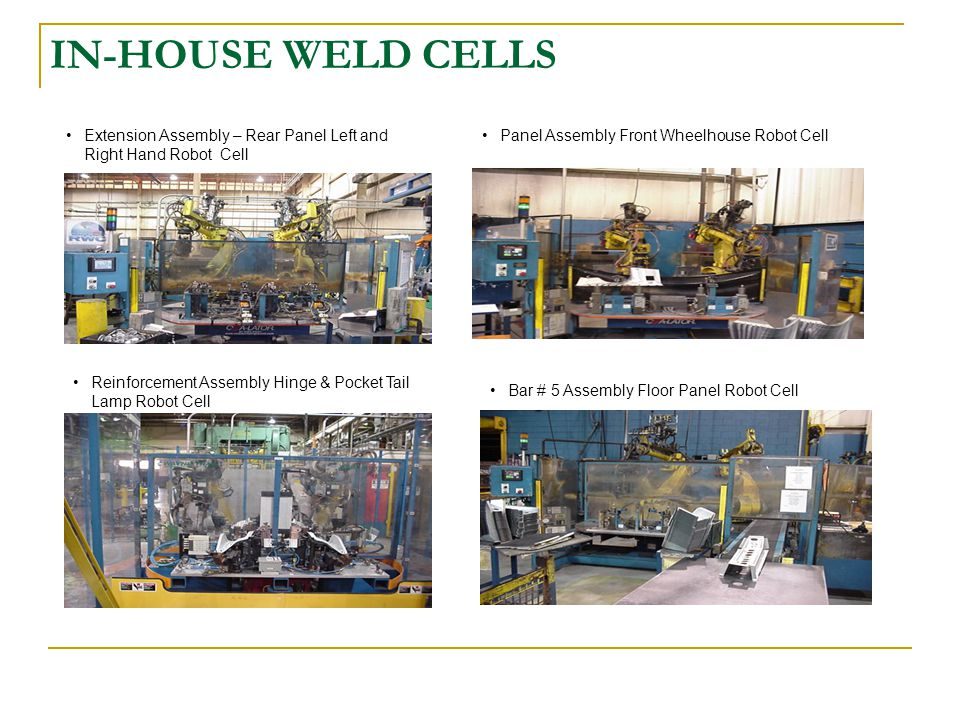 IN-HOUSE WELD CELLS Panel Assembly Front Wheelhouse Robot CellExtension Assembly – Rear Panel Left and Right Hand Robot Cell Reinforcement Assembly Hinge & Pocket Tail Lamp Robot Cell Bar # 5 Assembly Floor Panel Robot Cell