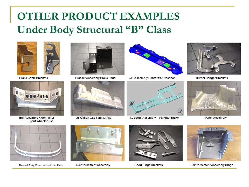 OTHER PRODUCT EXAMPLES Under Body Structural B Class Brake Cable Brackets Bracket Assembly Brake Pedal Sill Assembly Center # 5 Crossbar Muffler Hanger Brackets Bar Assembly Floor Panel 25 Gallon Gas Tank Shield Support Assembly – Parking Brake Panel Assembly Front Wheelhouse Bracket Assy Wheelhouse Filler Panel Reinforcement Assembly Hood Hinge Brackets Reinforcement Assembly Hinge
