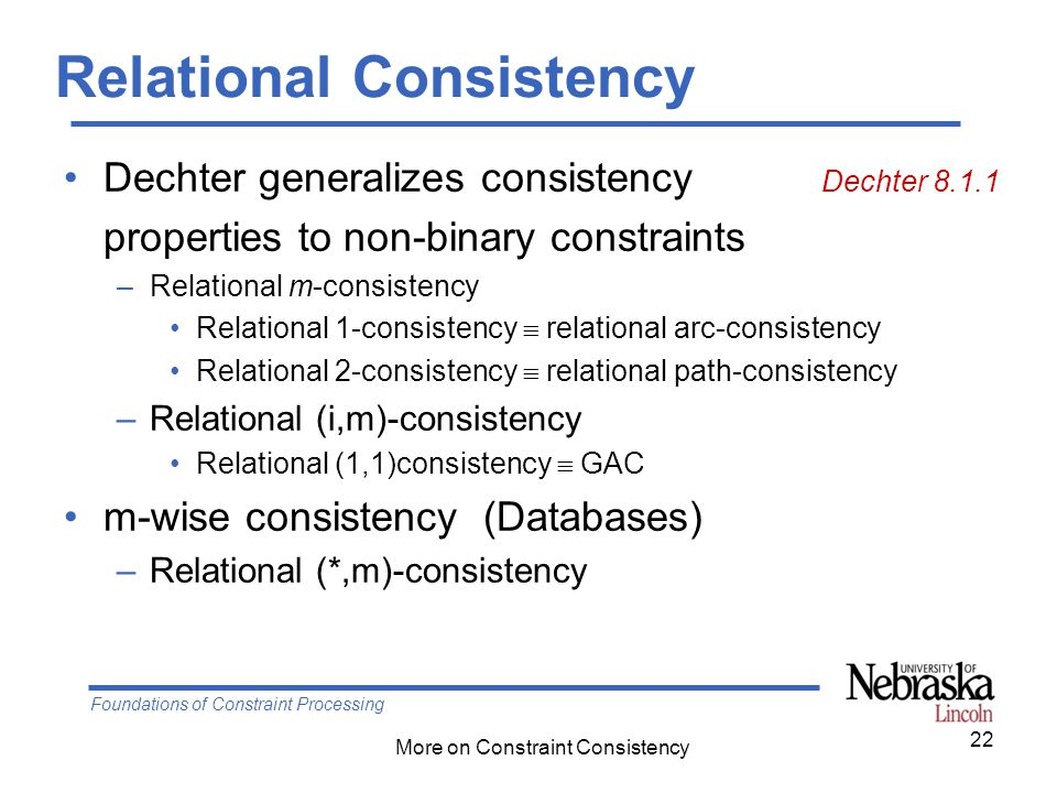 Foundations of Constraint Processing More on Constraint Consistency 22 Relational Consistency Dechter generalizes consistency Dechter 8.1.1 properties to non-binary constraints –Relational m-consistency Relational 1-consistency  relational arc-consistency Relational 2-consistency  relational path-consistency –Relational (i,m)-consistency Relational (1,1)consistency  GAC m-wise consistency (Databases) –Relational (*,m)-consistency