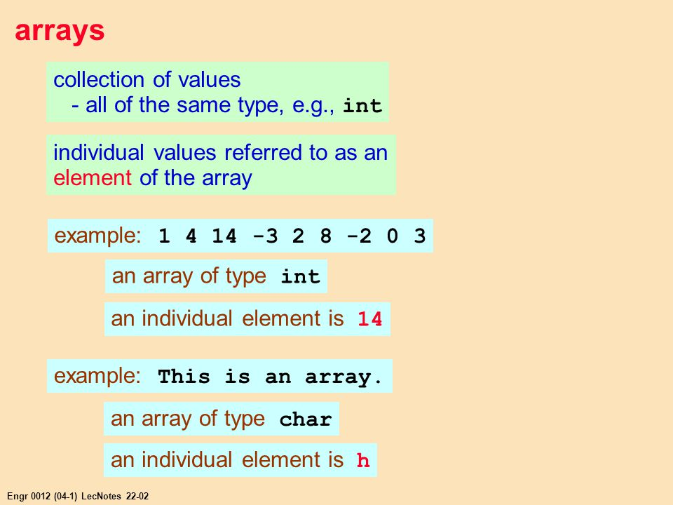 Engr 0012 (04-1) LecNotes 22-02 arrays collection of values - all of the same type, e.g., int individual values referred to as an element of the array example: 1 4 14 -3 2 8 -2 0 3 an array of type int an individual element is 14 example: This is an array.