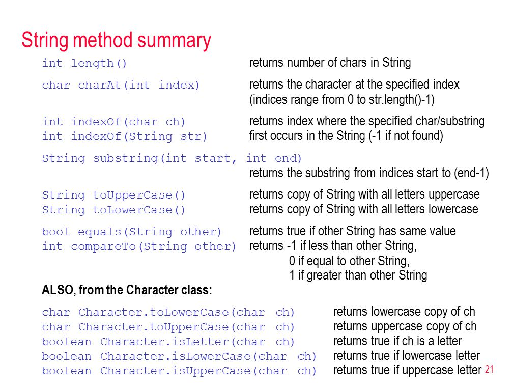 21 String method summary int length() returns number of chars in String char charAt(int index) returns the character at the specified index (indices range from 0 to str.length()-1) int indexOf(char ch) returns index where the specified char/substring int indexOf(String str) first occurs in the String (-1 if not found) String substring(int start, int end) returns the substring from indices start to (end-1) String toUpperCase() returns copy of String with all letters uppercase String toLowerCase() returns copy of String with all letters lowercase bool equals(String other) returns true if other String has same value int compareTo(String other) returns -1 if less than other String, 0 if equal to other String, 1 if greater than other String ALSO, from the Character class: char Character.toLowerCase(char ch) returns lowercase copy of ch char Character.toUpperCase(char ch) returns uppercase copy of ch boolean Character.isLetter(char ch) returns true if ch is a letter boolean Character.isLowerCase(char ch) returns true if lowercase letter boolean Character.isUpperCase(char ch) returns true if uppercase letter