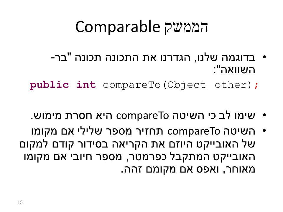 הממשק Comparable בדוגמה שלנו, הגדרנו את התכונה תכונה בר - השוואה : public int compareTo(Object other); שימו לב כי השיטה compareTo היא חסרת מימוש.