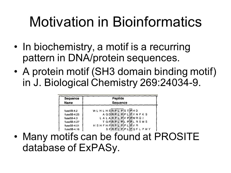 Motivation in Bioinformatics In biochemistry, a motif is a recurring pattern in DNA/protein sequences.