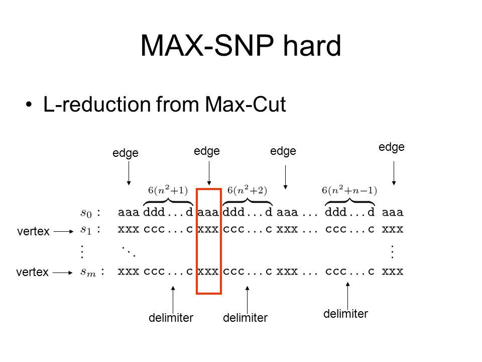 MAX-SNP hard L-reduction from Max-Cut vertex edge delimiter