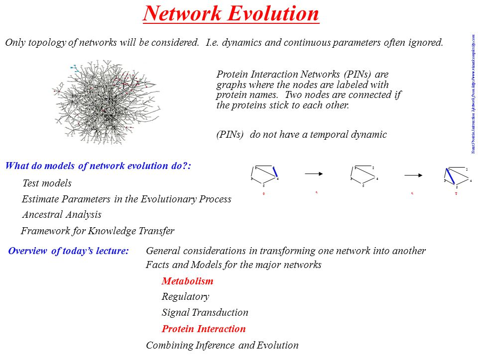 Network Evolution What do models of network evolution do : 12 34 5 12 34 5 12 34 5 0 t1t1 t2t2 T Overview of today's lecture: General considerations in transforming one network into another Facts and Models for the major networks Metabolism Regulatory Signal Transduction Protein Interaction Combining Inference and Evolution Test models Estimate Parameters in the Evolutionary Process Ancestral Analysis Framework for Knowledge Transfer Only topology of networks will be considered.