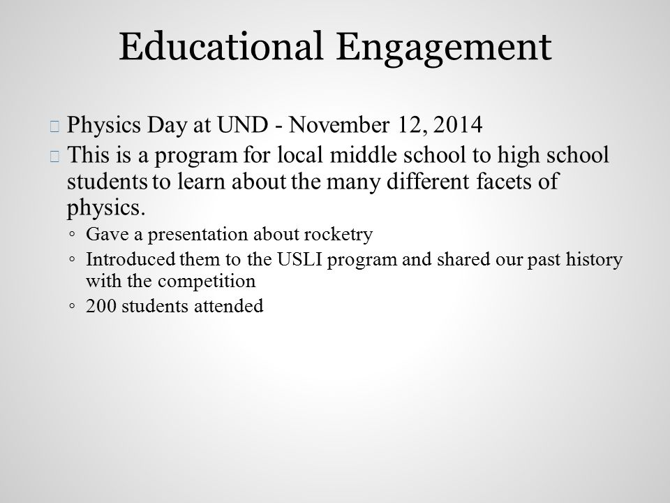  Physics Day at UND - November 12, 2014  This is a program for local middle school to high school students to learn about the many different facets