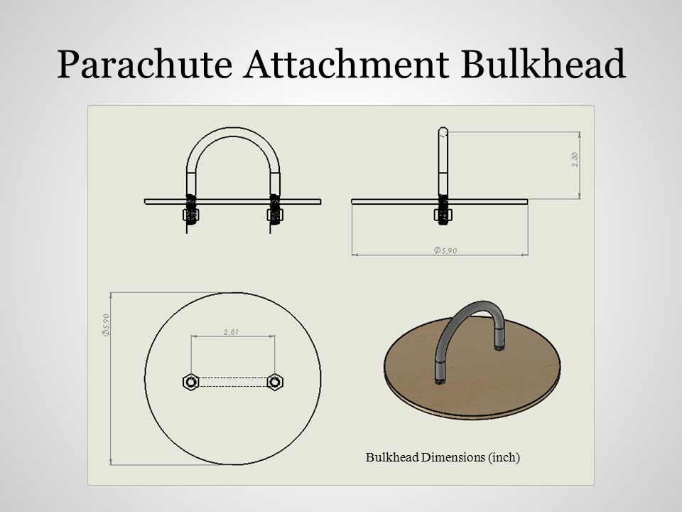 Parachute Attachment Bulkhead Bulkhead Dimensions (inch)