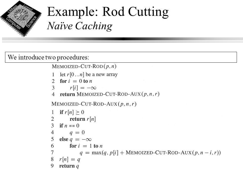 Example: Rod Cutting Naïve Caching We introduce two procedures: