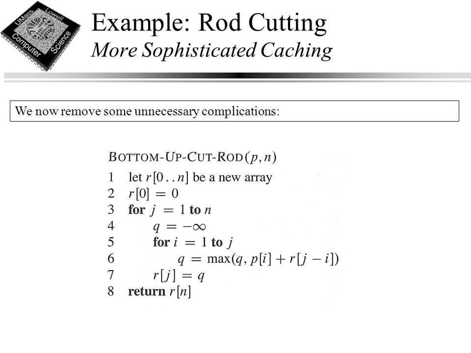 Example: Rod Cutting More Sophisticated Caching We now remove some unnecessary complications: