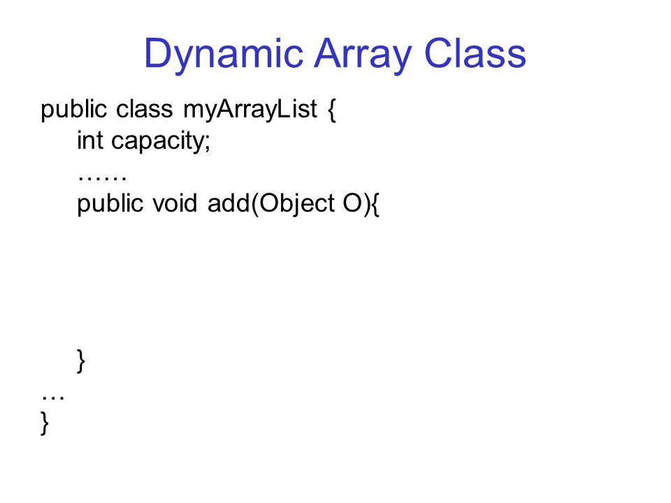 Dynamic Array Class public class myArrayList { int capacity; …… public void add(Object O){ } … }