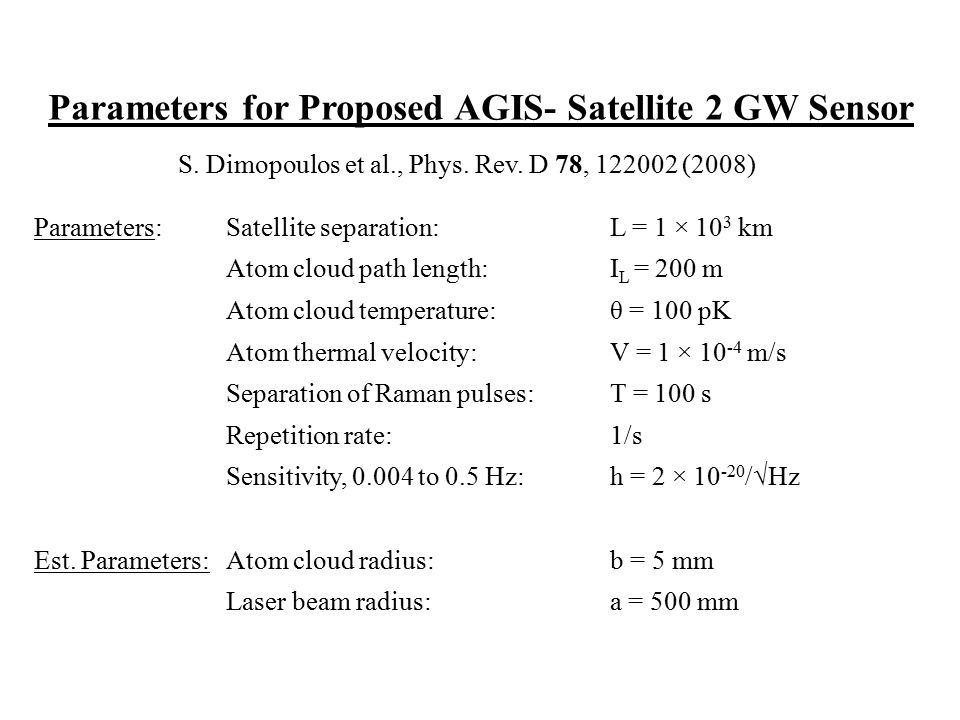 Parameters for Proposed AGIS- Satellite 2 GW Sensor S. Dimopoulos et al., Phys. Rev. D 78, 122002 (2008) Parameters:Satellite separation:L = 1 × 10 3