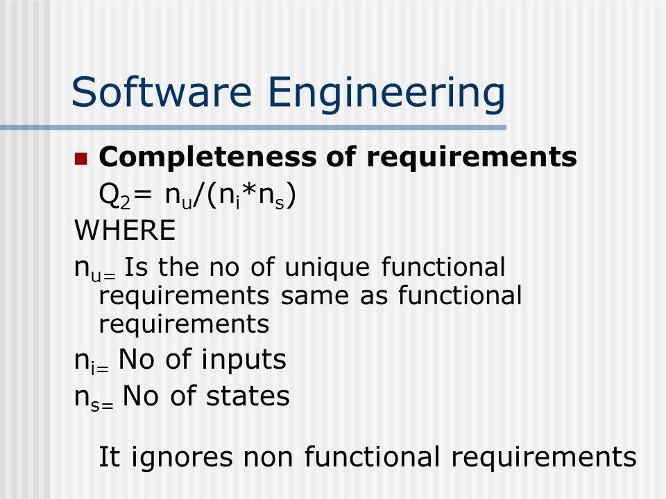 Software Engineering Completeness of requirements Q 2 = n u /(n i *n s ) WHERE n u= Is the no of unique functional requirements same as functional requirements n i= No of inputs n s= No of states It ignores non functional requirements