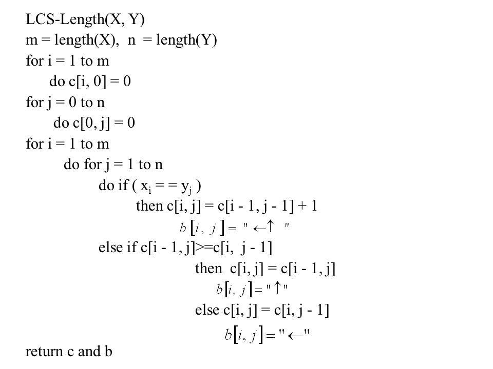 LCS-Length(X, Y) m = length(X), n = length(Y) for i = 1 to m do c[i, 0] = 0 for j = 0 to n do c[0, j] = 0 for i = 1 to m do for j = 1 to n do if ( x i = = y j ) then c[i, j] = c[i - 1, j - 1] + 1 else if c[i - 1, j]>=c[i, j - 1] then c[i, j] = c[i - 1, j] else c[i, j] = c[i, j - 1] return c and b