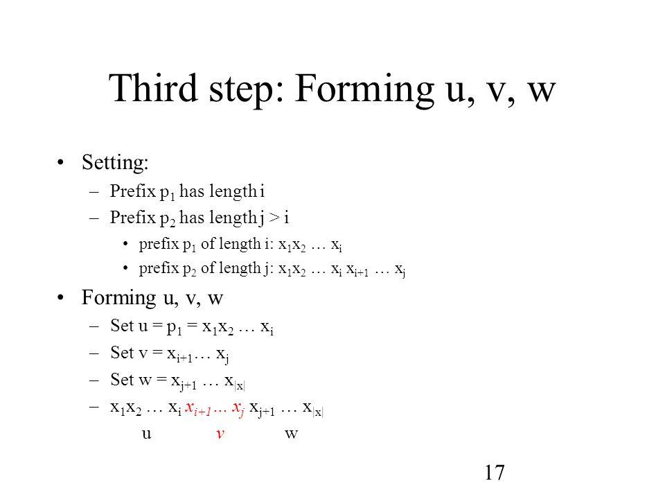17 Third step: Forming u, v, w Setting: –Prefix p 1 has length i –Prefix p 2 has length j > i prefix p 1 of length i: x 1 x 2 … x i prefix p 2 of length j: x 1 x 2 … x i x i+1 … x j Forming u, v, w –Set u = p 1 = x 1 x 2 … x i –Set v = x i+1 … x j –Set w = x j+1 … x |x| –x 1 x 2 … x i x i+1 … x j x j+1 … x |x| u v w