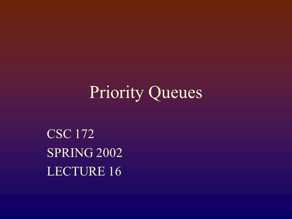 Priority Queues CSC 172 SPRING 2002 LECTURE 16
