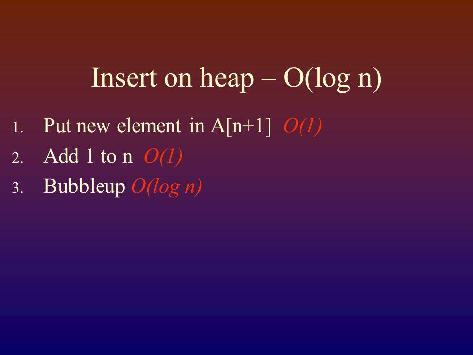 Insert on heap – O(log n) 1. Put new element in A[n+1] O(1) 2. Add 1 to n O(1) 3. Bubbleup O(log n)