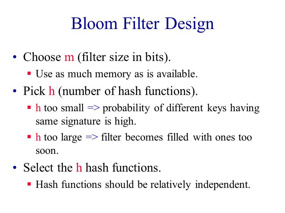 Bloom Filter Design Choose m (filter size in bits).
