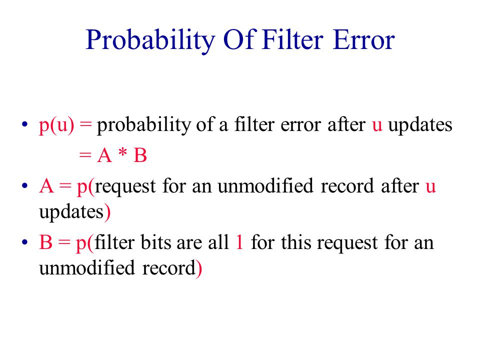 Probability Of Filter Error p(u) = probability of a filter error after u updates = A * B A = p(request for an unmodified record after u updates) B = p(filter bits are all 1 for this request for an unmodified record)