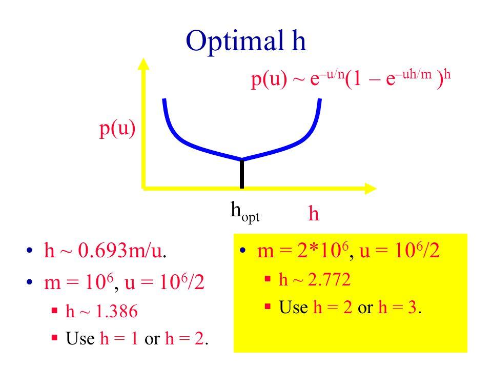 Optimal h h ~ 0.693m/u. m = 10 6, u = 10 6 /2  h ~ 1.386  Use h = 1 or h = 2.