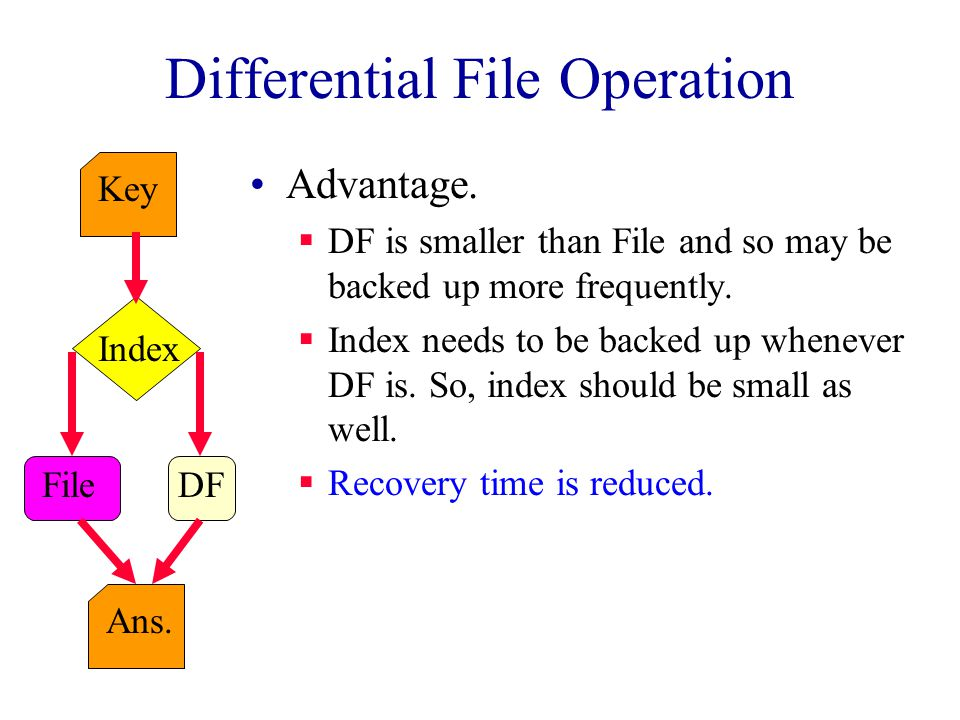 Differential File Operation Key Index File Ans.DF Advantage.