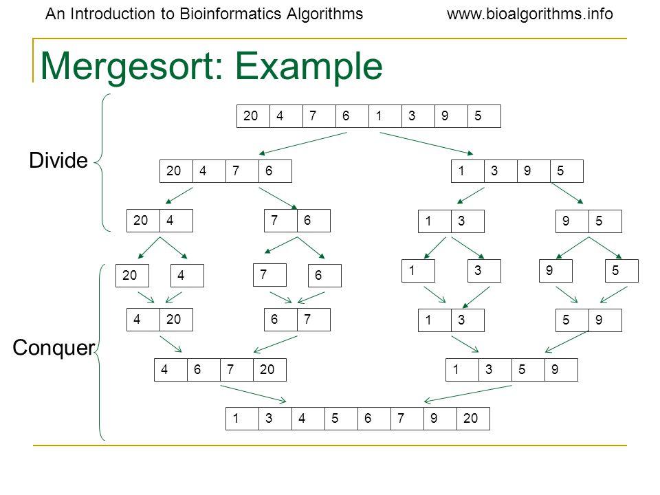An Introduction to Bioinformatics Algorithmswww.bioalgorithms.info Mergesort: Example 204761395 4761395 476 1395 4 7 6 1395 4 67 1359 467 1359 1345679