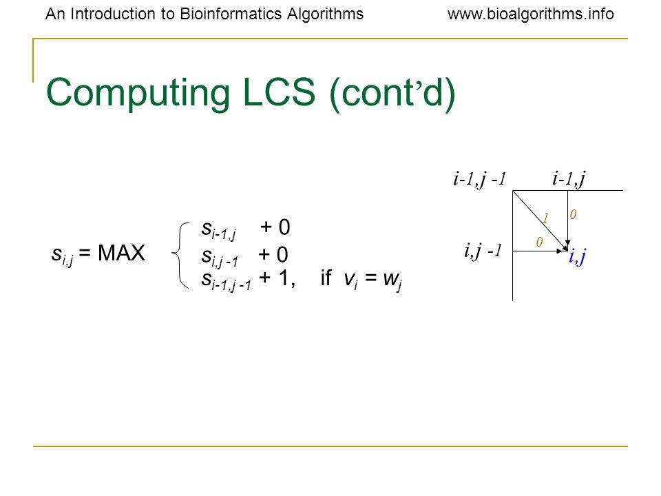 An Introduction to Bioinformatics Algorithmswww.bioalgorithms.info Computing LCS (cont ' d) s i,j = MAX s i-1,j + 0 s i,j -1 + 0 s i-1,j -1 + 1, if v