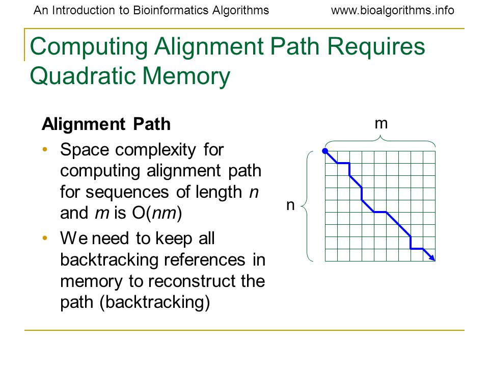 An Introduction to Bioinformatics Algorithmswww.bioalgorithms.info Computing Alignment Path Requires Quadratic Memory Alignment Path Space complexity for computing alignment path for sequences of length n and m is O(nm) We need to keep all backtracking references in memory to reconstruct the path (backtracking) n m