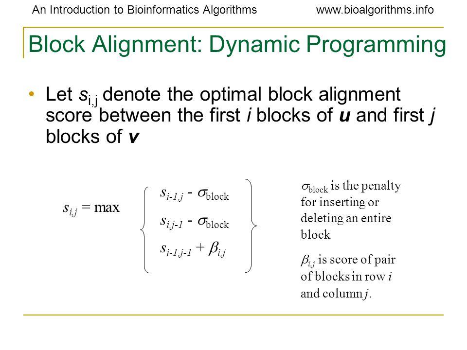 An Introduction to Bioinformatics Algorithmswww.bioalgorithms.info Block Alignment: Dynamic Programming Let s i,j denote the optimal block alignment s