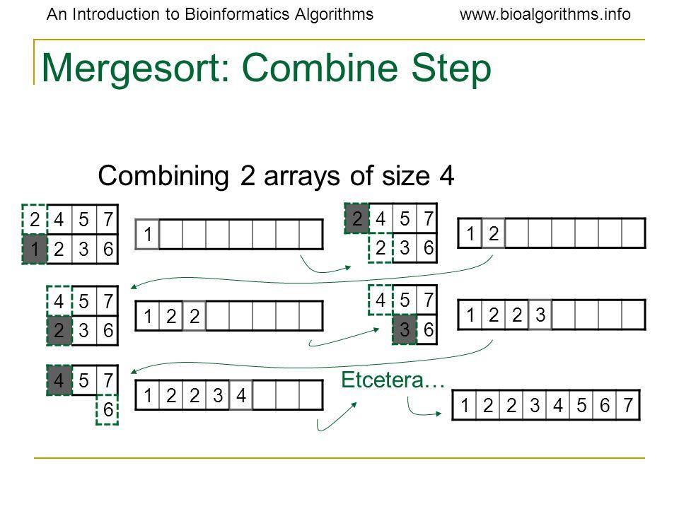 An Introduction to Bioinformatics Algorithmswww.bioalgorithms.info Mergesort: Combine Step Combining 2 arrays of size 4 2457 1236 1 2457 236 12 457 23