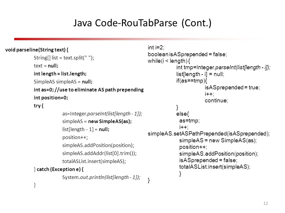 Java Code-RouTabParse (Cont.) void parseline(String text) { String[] list = text.split(