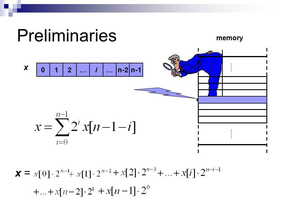 Preliminaries i201……n-2n-1 memory x x =