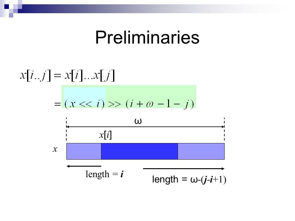 Preliminaries x x[i]x[i] length = i length = ω -(j-i+1) ω