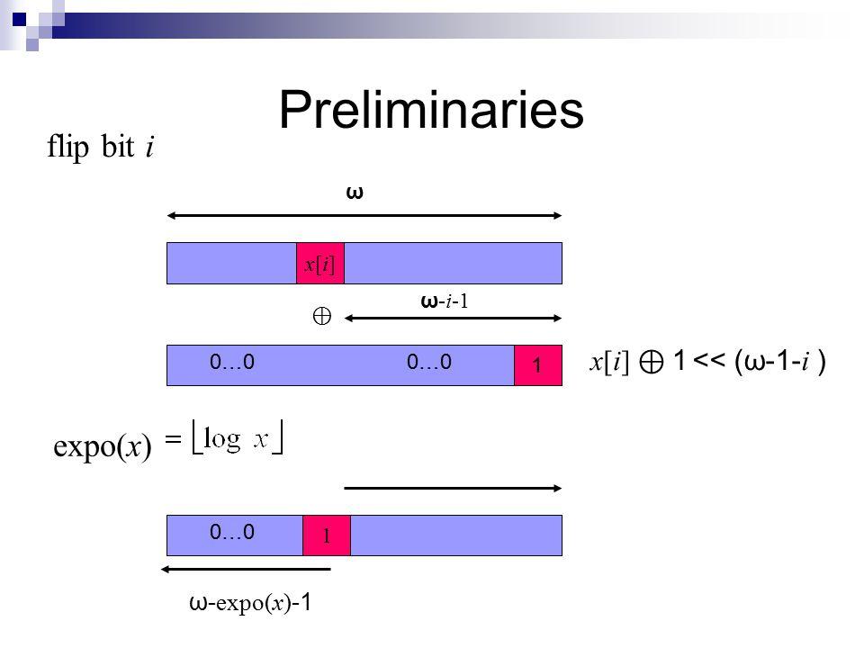 Preliminaries flip bit i 1 x[i]x[i] ω ω -i-1 0…0 1<< (ω-1- i ) ⊕ x[i] ⊕ expo(x) 1 0…0 ω- expo(x) -1