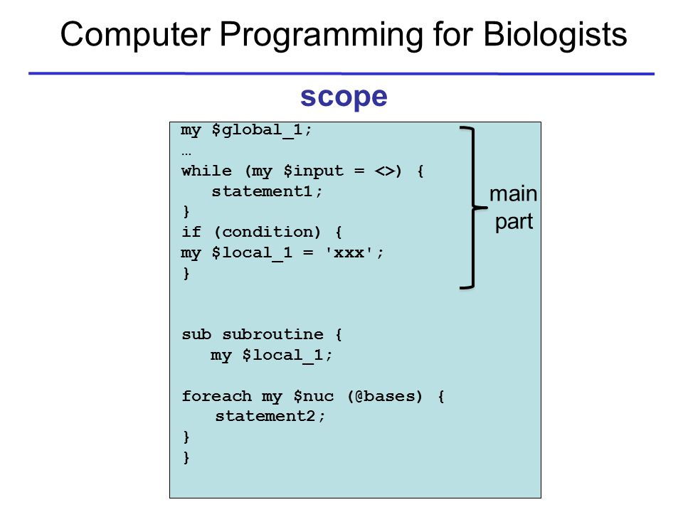 Computer Programming for Biologists scope my $global_1; … while (my $input = <>) { statement1; } if (condition) { my $local_1 = xxx ; } sub subroutine { my $local_1; foreach my $nuc (@bases) { statement2; } main part