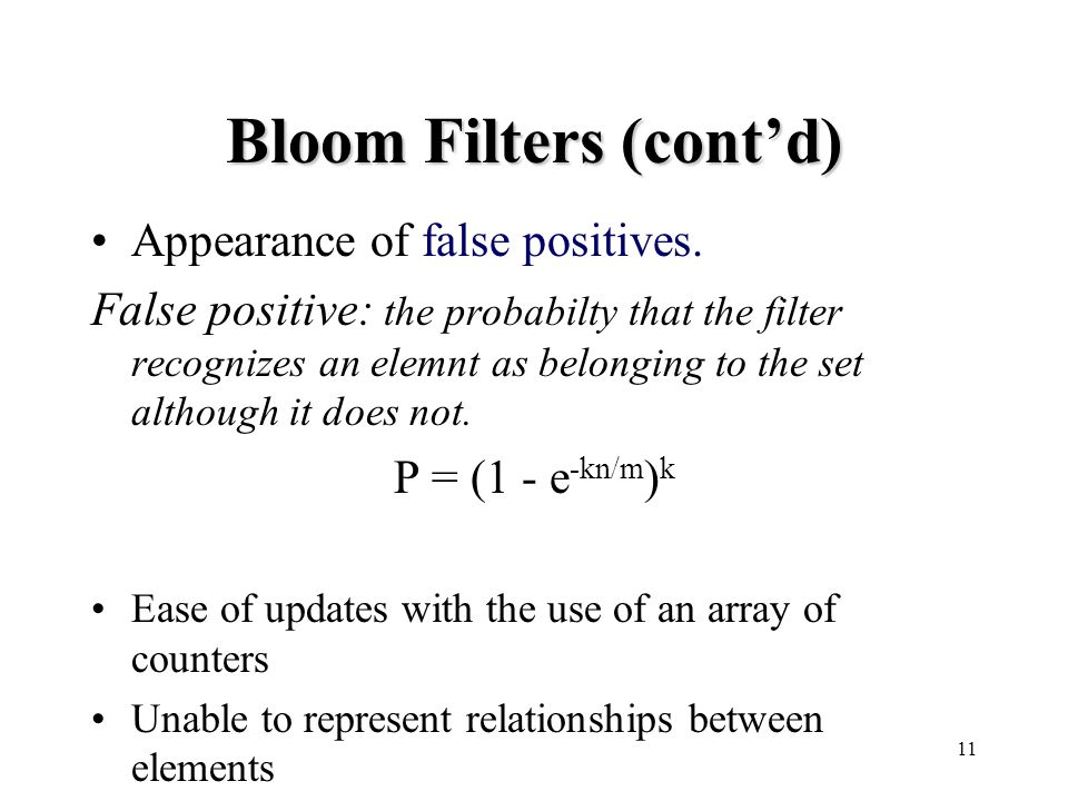 11 Bloom Filters (cont'd) Appearance of false positives.