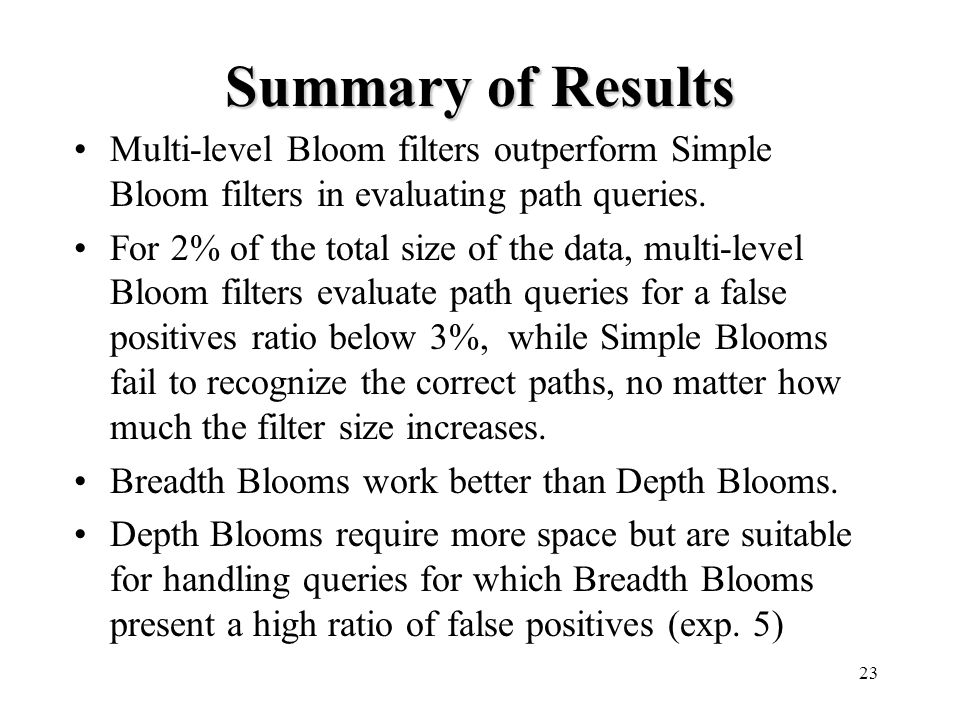 23 Summary of Results Multi-level Bloom filters outperform Simple Bloom filters in evaluating path queries.